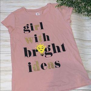 Gap kids shirt pink gold glitter xxl (14-16)